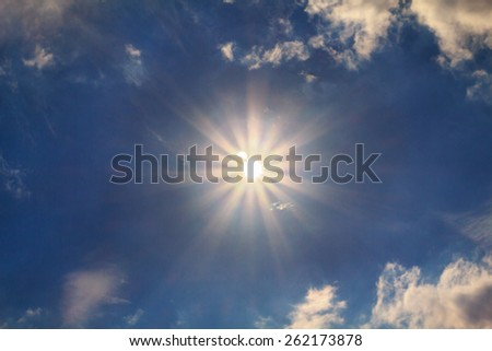 The sun and the moon to the solar eclipse - stock photo
