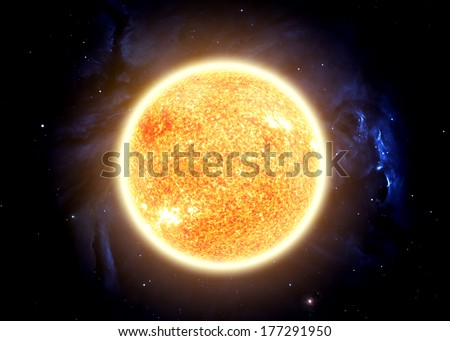 The Sun - Elements of this image furnished by NASA - stock photo