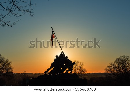 The sun is rising in Washington DC / The daybreak of Washington DC / The rising sun beyond the US Capitol. - stock photo