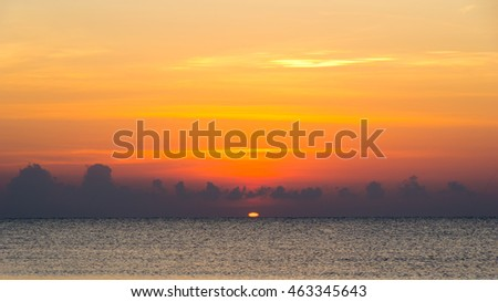 the sun is shining in early morning at sea