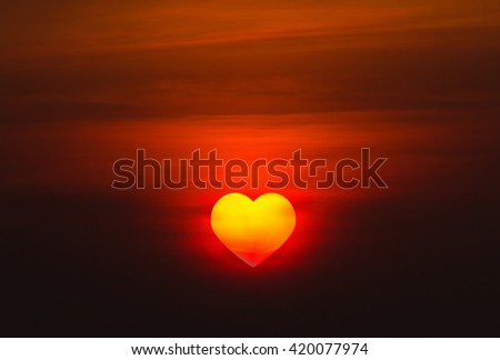 The Sun is the heart is the evening before sunset - stock photo