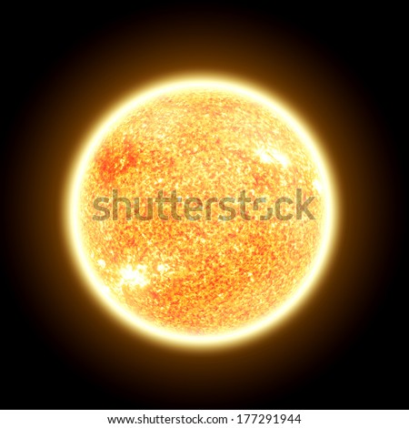 The Sun Isolated on Black - Elements of this image furnished by NASA - stock photo