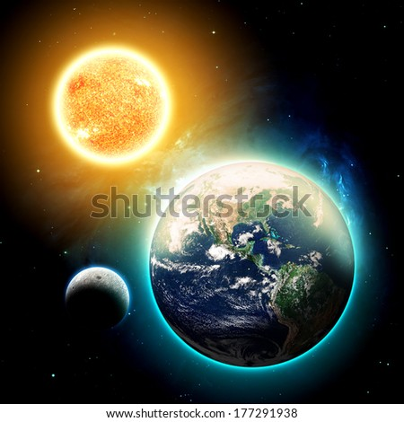 The Sun, Moon and Earth - Elements of this image furnished by NASA - stock photo