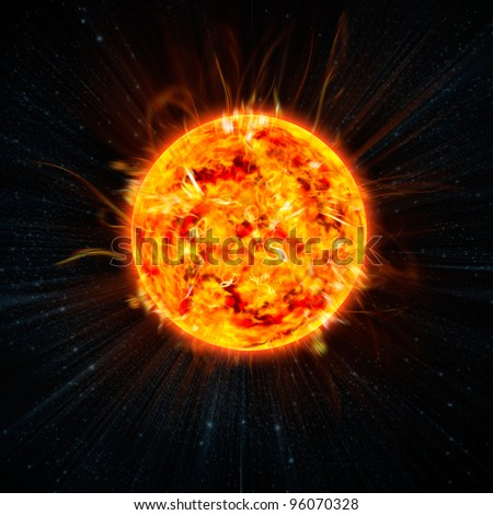 the Sun on the space background