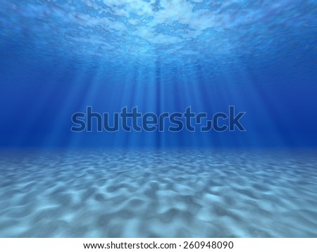 The sun's rays underwater. Underwater background.  - stock photo