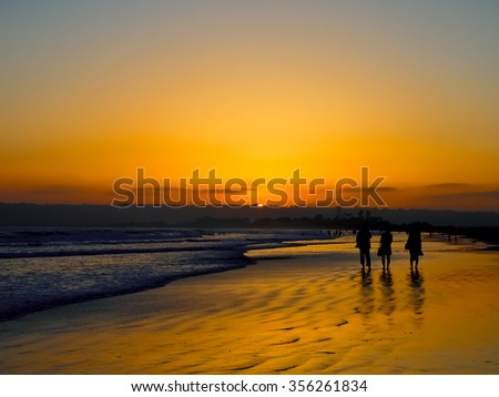 The Sun Set And Silhouette at the Coronado Beach in San Diego  in June