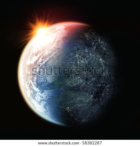 The sun setting on planet earth. - stock photo