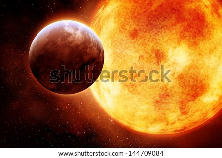 The Sun with circling planet - stock photo