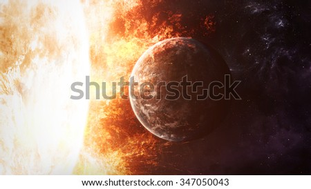 The Sun with circling planet. Elements of this image furnished by NASA