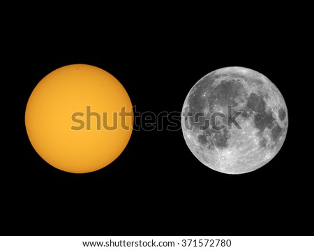 The Sun with sunspots and Full Moon seen with telescope from planet Earth (Collage of two real photos taken with my own telescope, no NASA images used) - stock photo