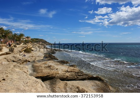 The sunny day, the sea and the beach Spain Alicante