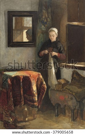 The Sunny Nook, by Christoffel Bisschop, c. 1855-1899. Dutch watercolor painting. Young women stands in a corner of a sunlight room working with scissors and fabric.