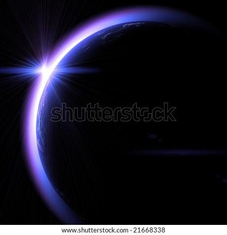 The sunrise in space on a black background