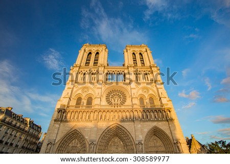 The sunset at Cathedral of Notre Dame in Paris, France.