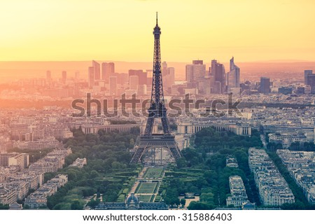 The sunset at Paris city with Eiffel Tower in France.