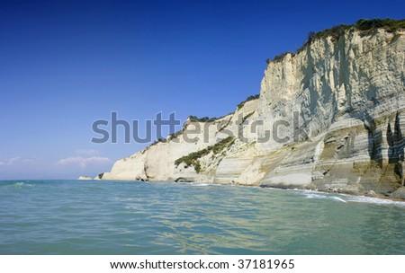 The sunset beach near Sidari on Corfu island,Greece - stock photo