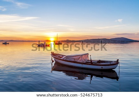 The sunset of Ayvalik in Aegean Sea