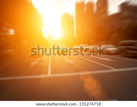 The sunset of the busy roads of major cities - stock photo