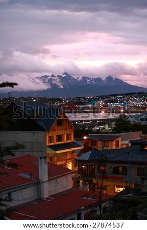 The sunset of Ushuaia, Argentina - stock photo