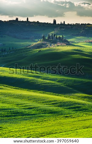 Morning On Countryside Tuscany Italy Stock Photo - Tranquil photos capture the beauty of tuscanys countryside