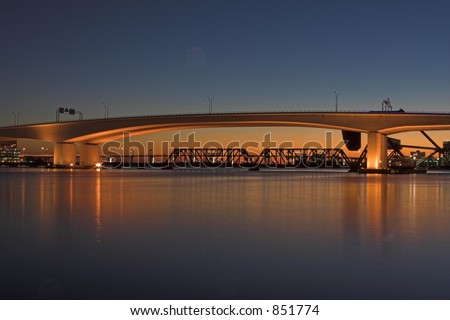 The sunset over the St. Johns River, in downtown Jacksonville, Florida - stock photo