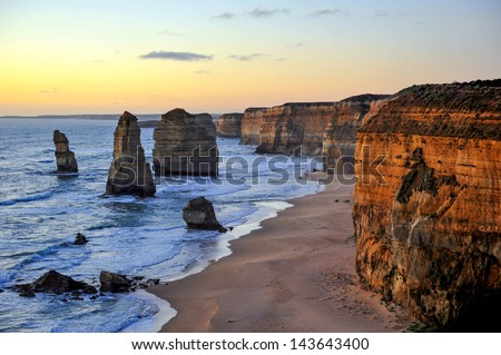 The sunset over the Twelve Apostles, Victoria,Australia - stock photo