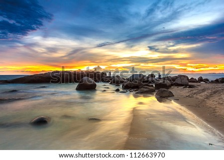 The sunset time have event of people. - stock photo