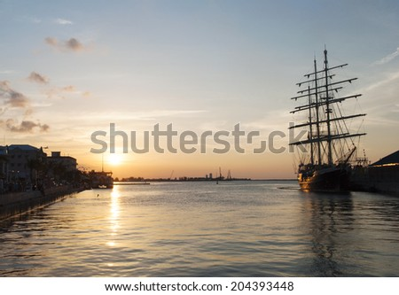 The sunset view in Nassau, the capital of The Bahamas. - stock photo