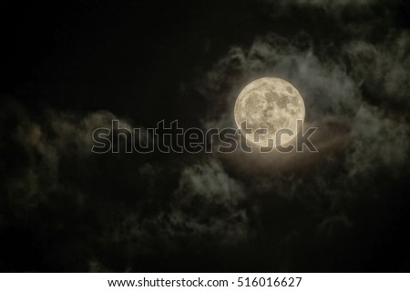 The Supermoon over Budapest comes out of clouds (HDR image)