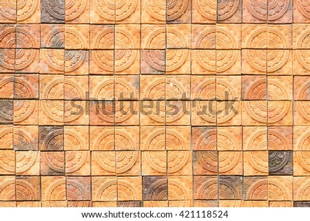 the surface of embossing stone Cladding brick wall, beautiful brick wall, Multicolored brick wall background texture - stock photo