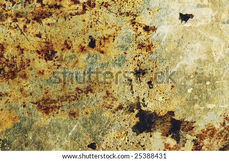 The surface of old cooking pan, closeup. - stock photo