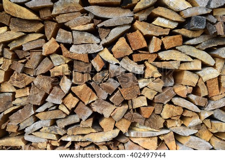 The surface of stacked firewood