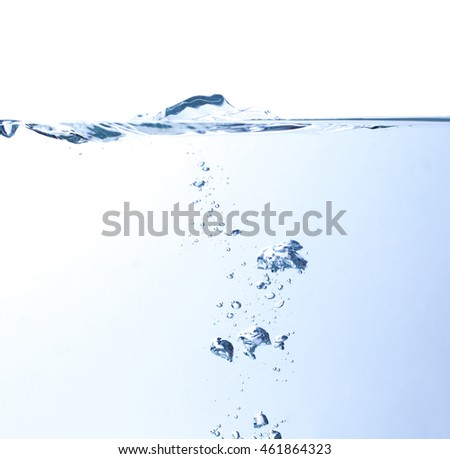the surface of water with underwater bubbles that move towards to the top of surface