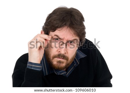 The surprised man wearing glasses fixedly looks in chamber.Isolated on a white background - stock photo