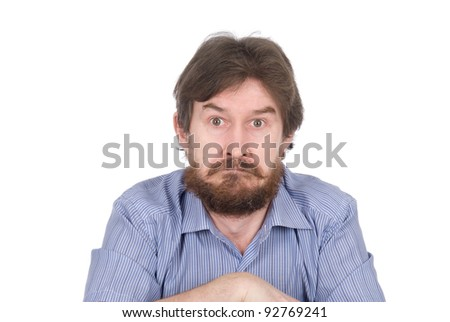 The surprised man with a beard isolated on white background - stock photo