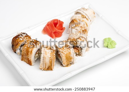 The sushi roll with eel