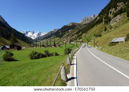 The Susten Pass (2264 m) connects the Swiss Cantons Bern with Uri and has a lot of interesting views - stock photo