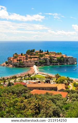 The Sveti Stefan island in the Adriatic Sea. In Montenegro, near Budva. - stock photo