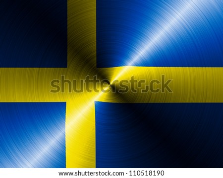 The Swedish flag painted on brushed metall - stock photo