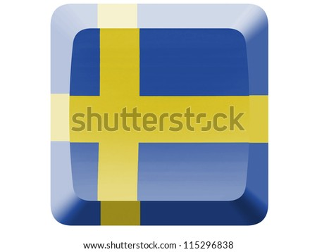 The Swedish flag painted on button - stock photo
