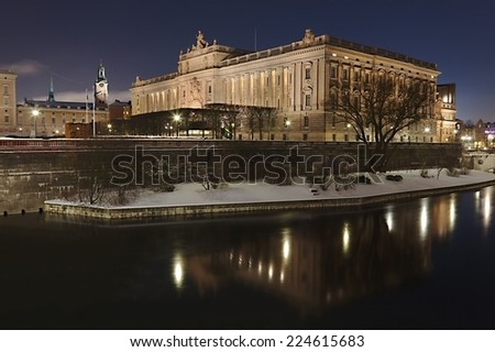 The Swedish Parliament by night in Stockholm