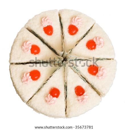 The sweet cake on white background (isolated) - stock photo