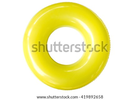 The swim ring was derived from the inner tube, the inner, enclosed, inflatable part of older vehicle tires.  - stock photo