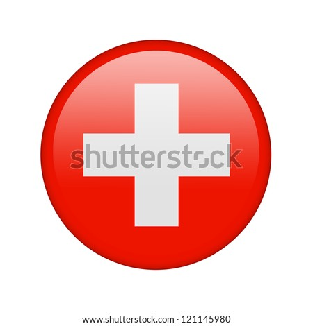 The Swiss flag in the form of a glossy icon. - stock photo