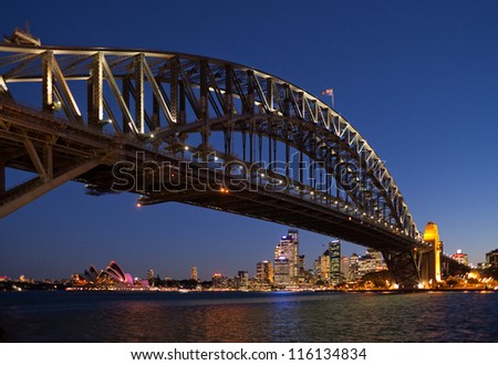The Sydney Harbor Bridge and Sydney Opera House - stock photo