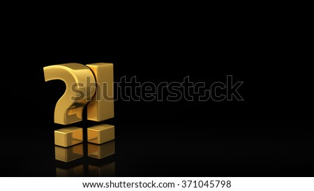 The symbolic image of surprise or misunderstanding. Gold symbols of question and exclamation marks on a black background with copyspace for text. 3D illustration picture - stock photo