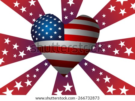 The symbolism of the American flag. Heart, Stars and Stripes.