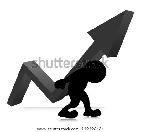 The Symbolizing Growth and Development of Business, The Man Carry Gray Arrow Graph on His Back Isolated on White Background  - stock photo