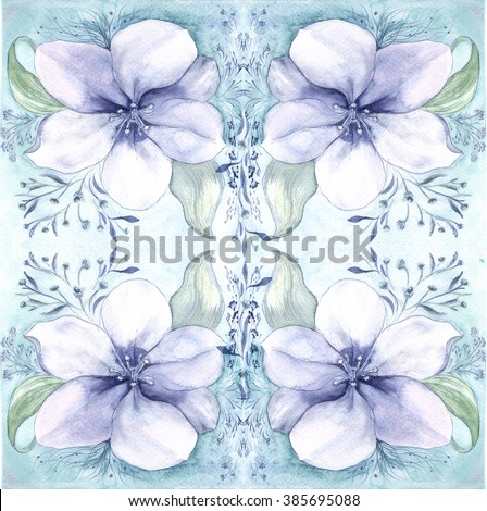 The symmetrical image is a composition of flowers.
