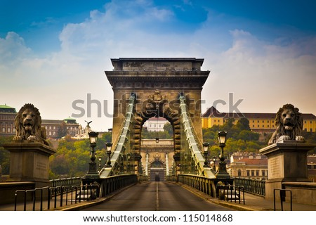The Szechenyi Chain Bridge is a beautiful, decorative suspension bridge that spans the River Danube of Budapest, the capital of Hungary. - stock photo